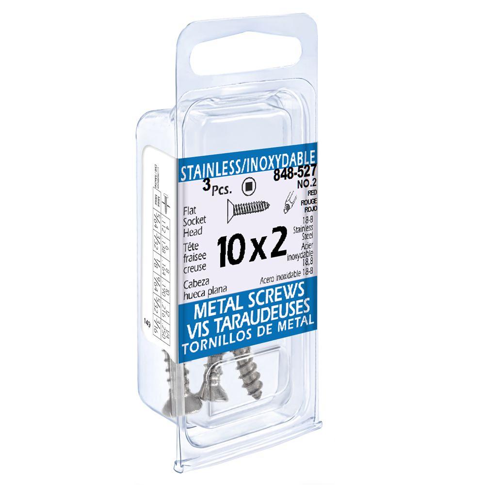 10X2 Flat Skt Hd Tapping Scr Ss