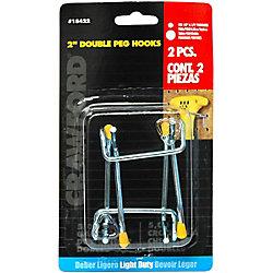 Crawford & Burke 2-Piece 2 inch Dbl Arm Peg Hook