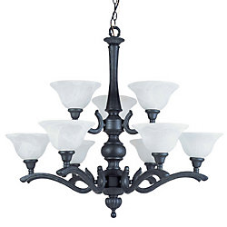 Hampton Bay 9 Light Chandelier in Ebony Black Finish