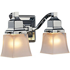 2-Light Chrome Vanity Fixture with Etched Glass Shade