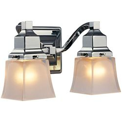 Hampton Bay 2-Light Chrome Vanity Fixture with Etched Glass Shade
