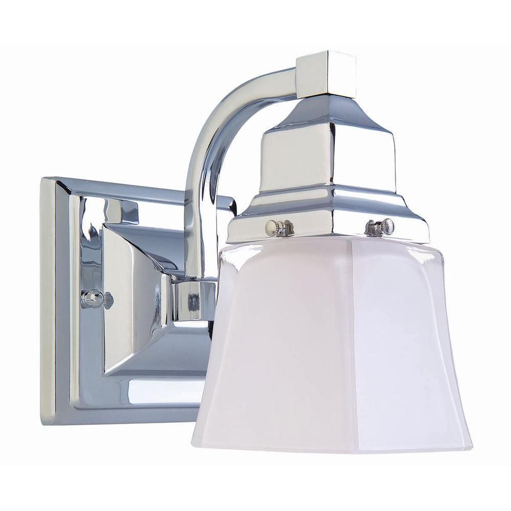 Hampton Bay 1-Light Chrome Vanity Light with Glass Shade