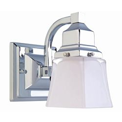 Hampton Bay 1-Light Chrome Vanity Light with Glass Shade