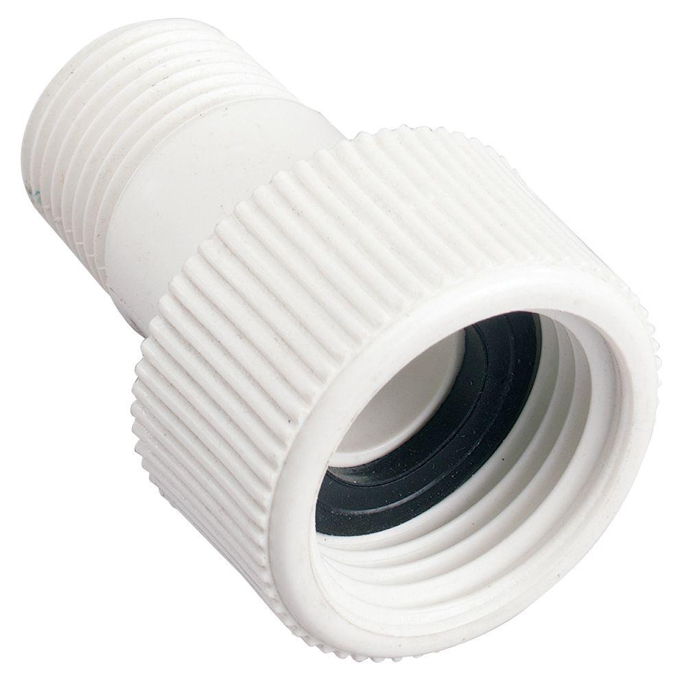 Raccord pivotant en PVC 1/2 po MNPT x 3/4 po FHT