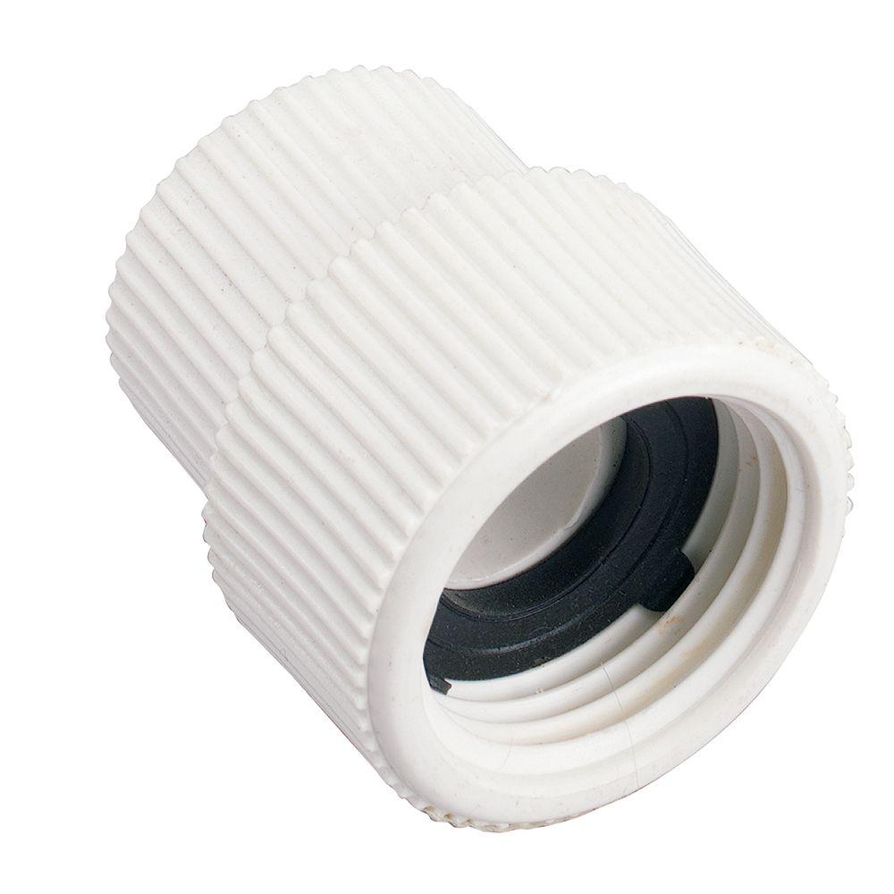 Raccord pivotant en PVC 1/2 po FNPT x 3/4 po FHT