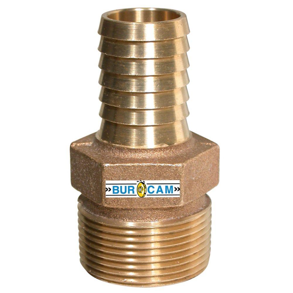 Bur-Cam  Adaptateur De Reduction Bronze 1 1/4  po Mnpt X 1  po Barb