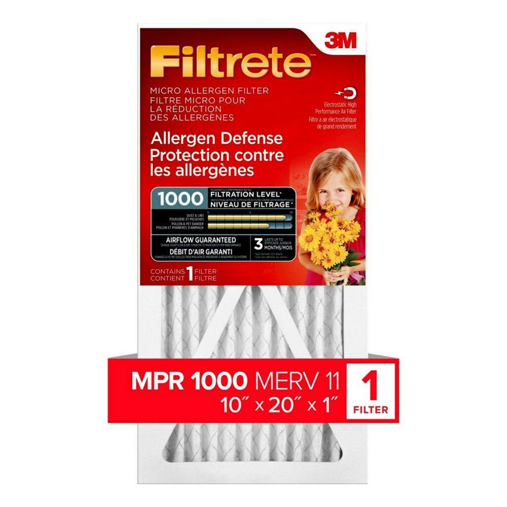 3M Filtrete 10x20 Filtre micro pour la réduction des allergènes