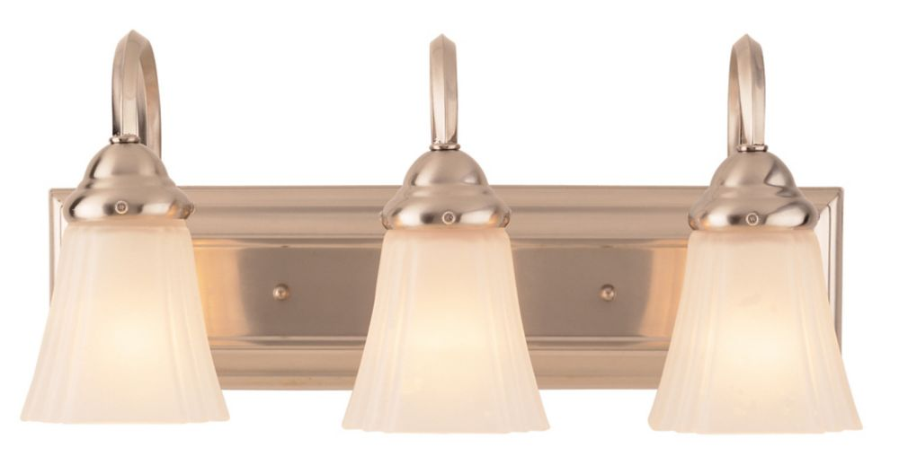 3-Light Square Back Plate Bathroom Fixture with Frosted Glass, Brushed Nickel Finish