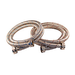 Aqua-Dynamic Flex Connector Ss 3/4i Hose X 3/4i Hose 60i Wash Machine (2-Pack) Lead Free