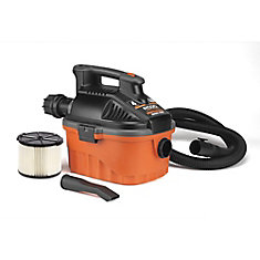 15-Litre 5.0-Peak HP Portable Wet Dry Vac with 6-Meter Power Cord and 2.1-Meter Tug-A-Long Hose