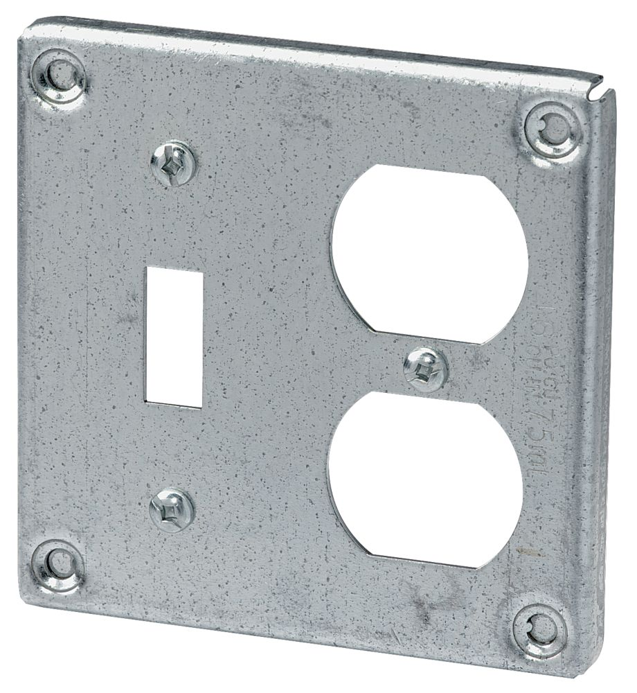 4 In. Square Cover One Duplex One Switch