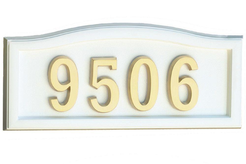 Plaque de numéro civique blanche en fonte d'aluminium