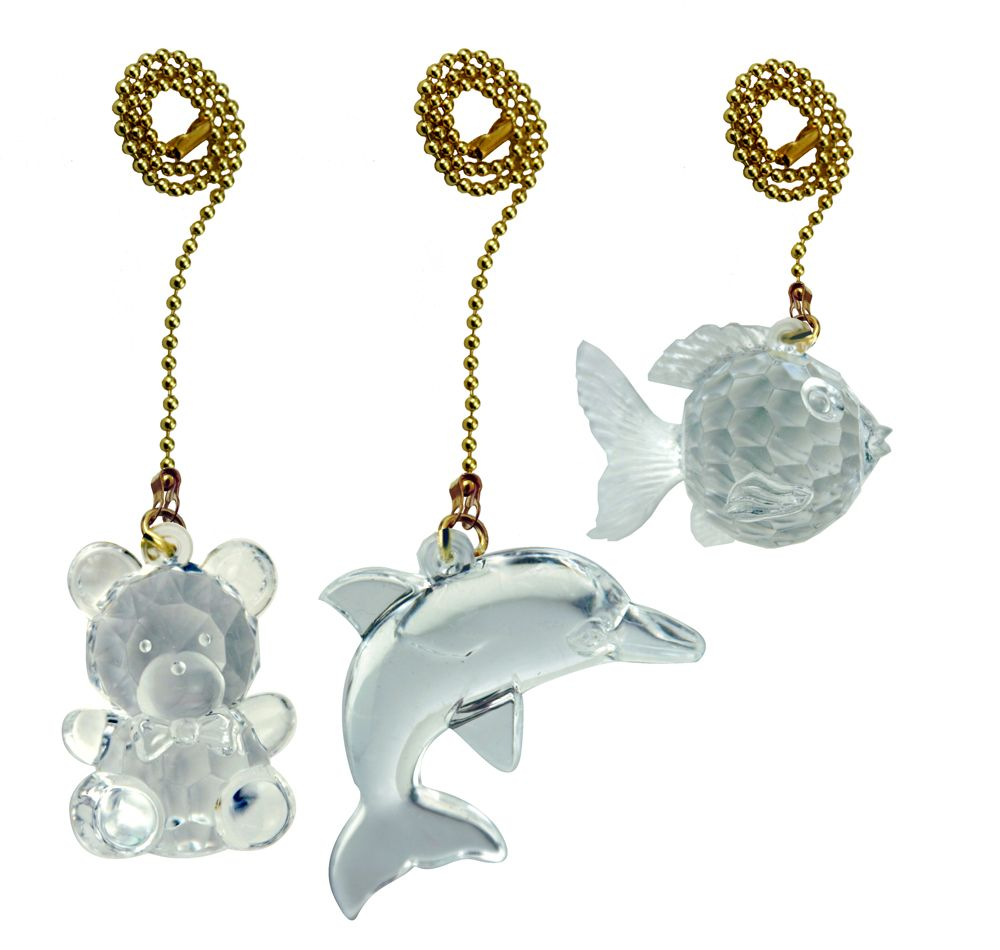 Acrylic Pullchain 3-Pack Teddy/Fish/Dolphin with 12 Inch (30.5 cm) Brass beaded Chain
