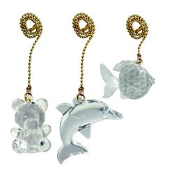 Atron Acrylic Pull Chain Teddy/Fish/Dolphin with 12 Inch (30.5 cm) Brass beaded Chain (3-Pack)