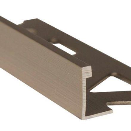 Ceramic Aluminum Tile Edge, Satin Titanium - 3/8 Inch (10mm)