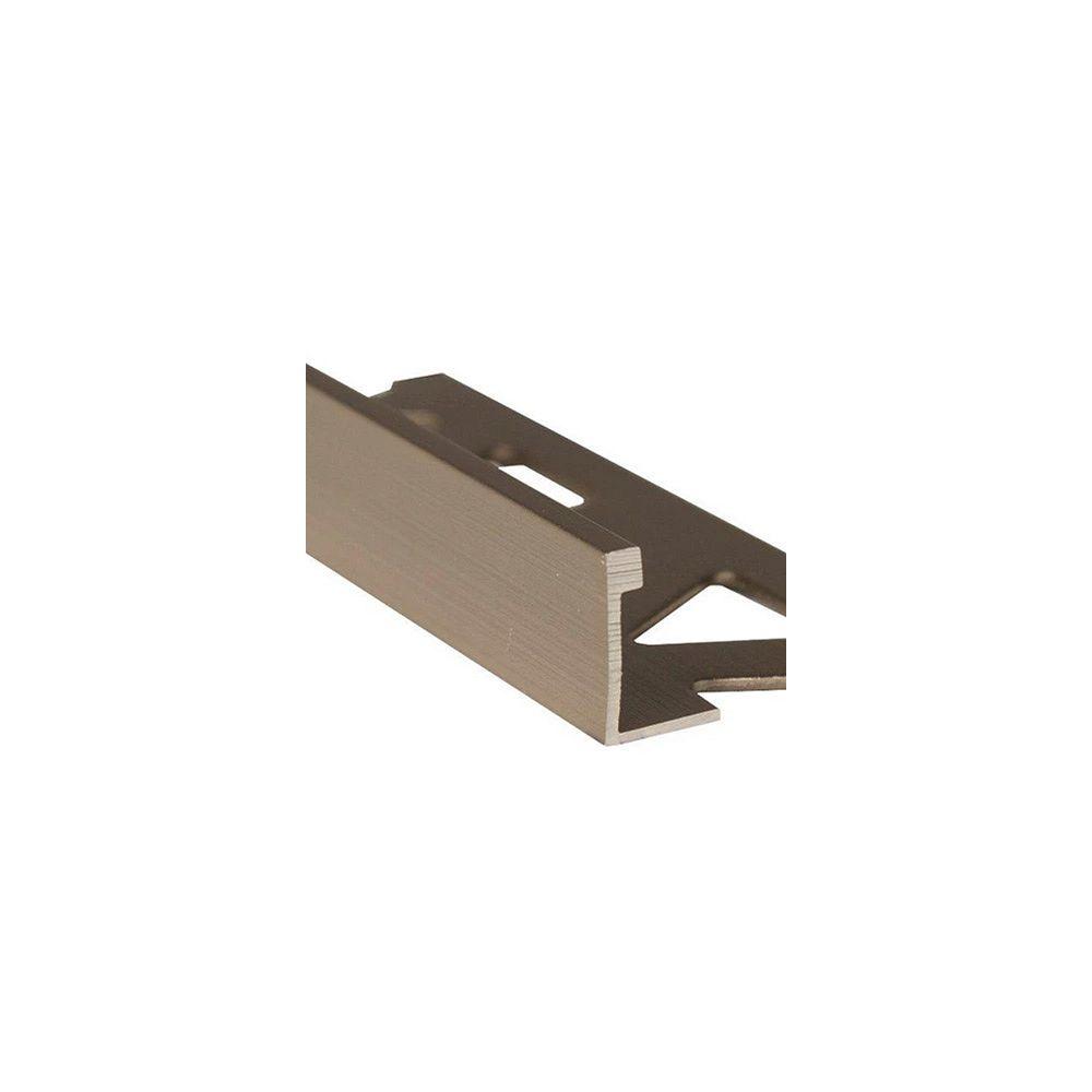 PROVA Ceramic Aluminum Tile Edge, Satin Titanium - 1/2 Inch (12mm)