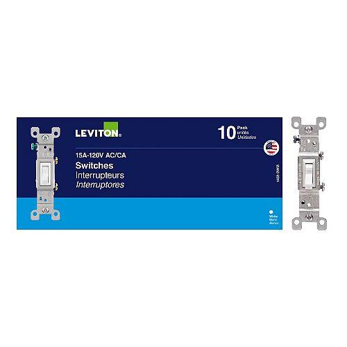 Leviton Interrupteurs Unipolaires X10, Blanc