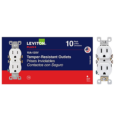 Duplex Receptacles, White - (10-Pack)
