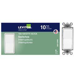 Leviton Single Pole Decora Light Switches in White (10-Pack)