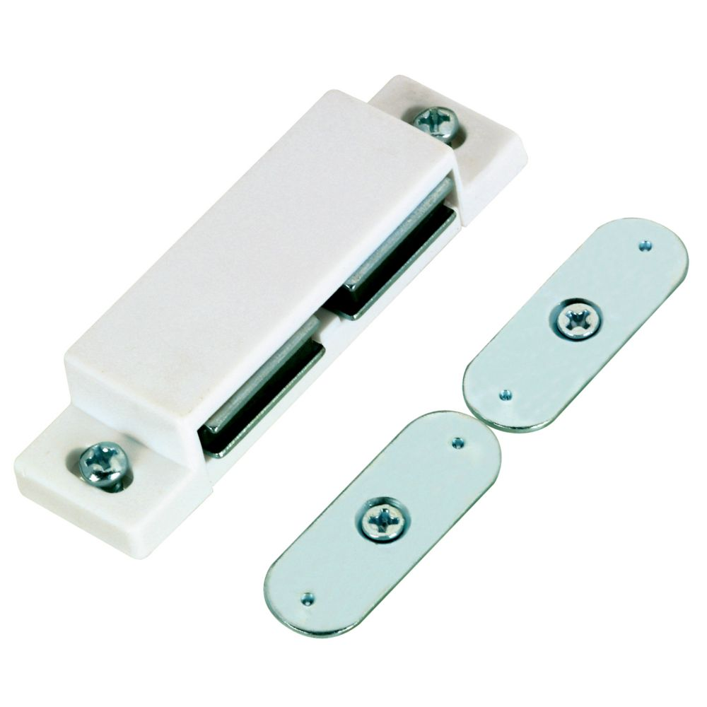 White Double Magnetic Catch with Mounting Screws