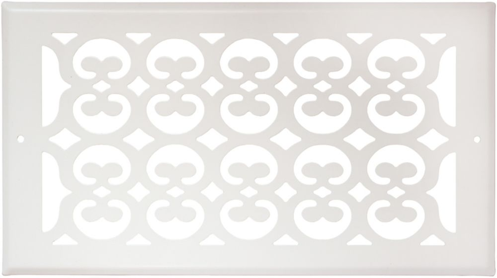6 Inch x 10 inch White Victorian Sidewall Grille