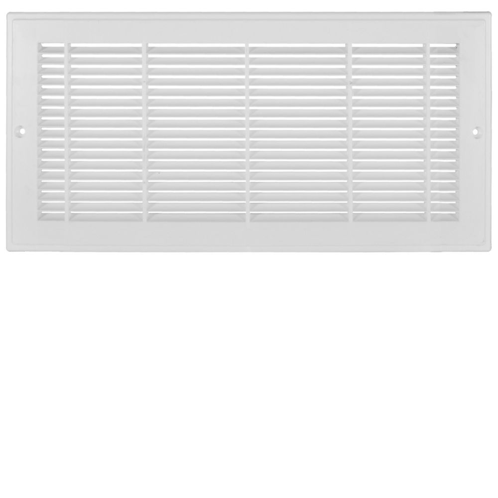 12 Inch x 8 inch White Plastic Sidewall Grille