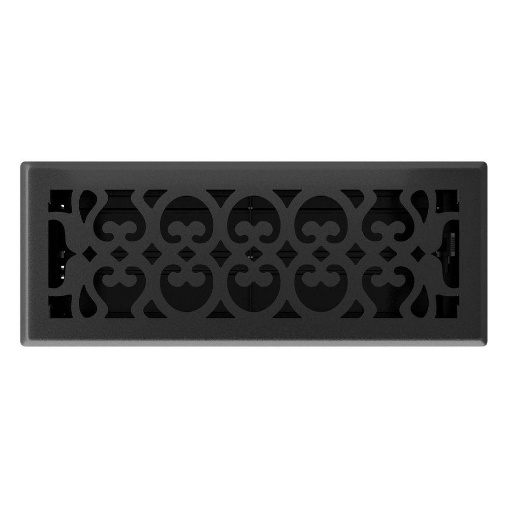 4po x 12po Registre de plancher à motif victorien noir mat