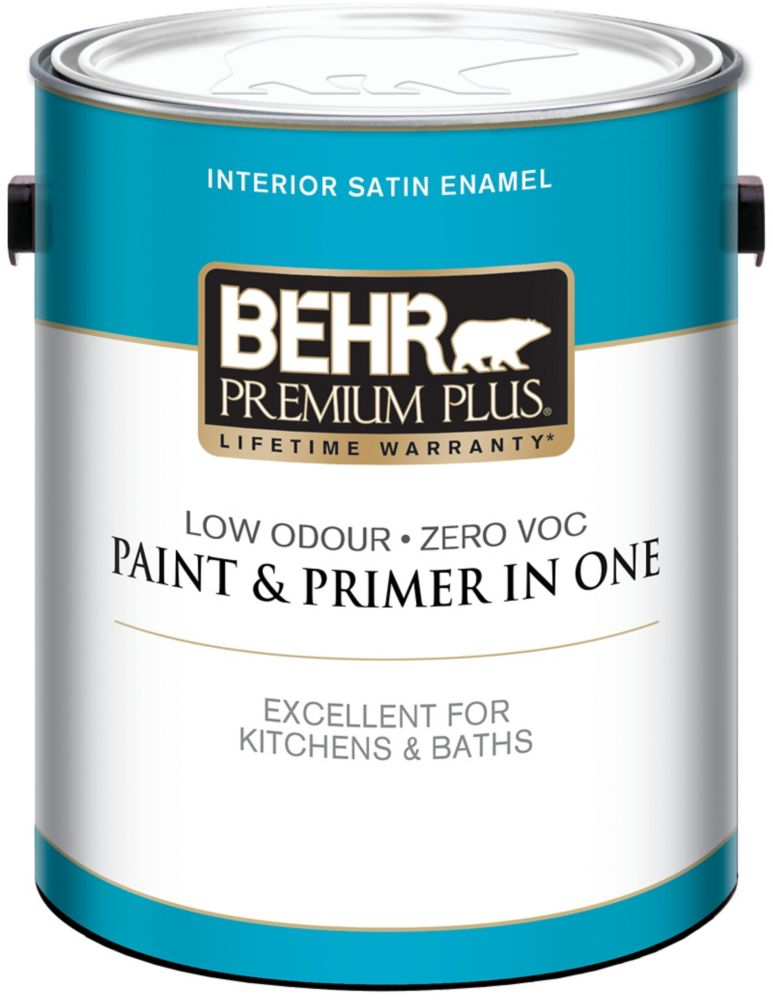 Behr Premium Plus 3.79L Ultra Pure White Interior Satin Enamel Paint and Primer