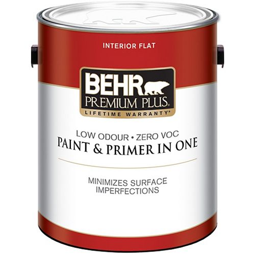 Behr Premium Plus Ultra Pure White Flat Interior Paint & Primer, 3.79 L