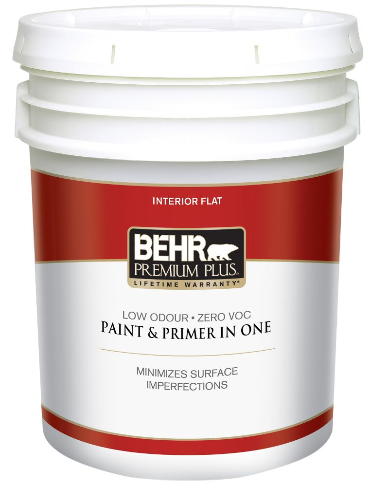 behr premium plus behr premium plusmd peinture int rieure fini mat blanc ultra pur 18 9 l. Black Bedroom Furniture Sets. Home Design Ideas