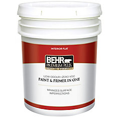 BEHR PREMIUM PLUS   Interior Flat Paint - Ultra Pure White, 18.9 L