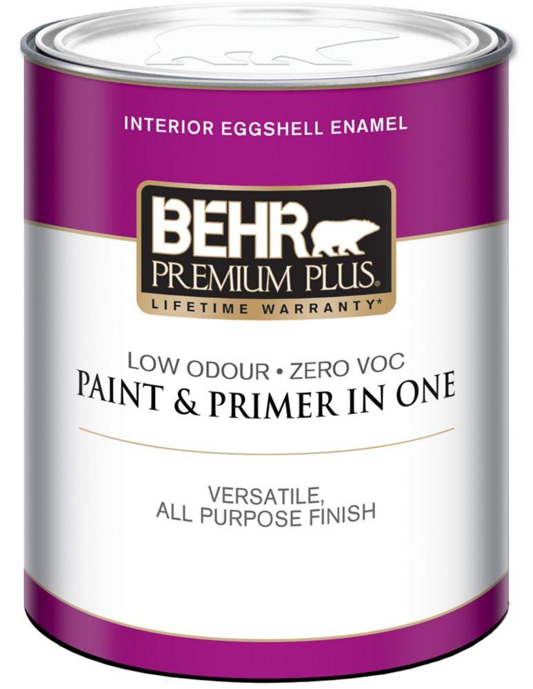 BEHR PREMIUM PLUSMD  Peinture intérieure émail coquille d'oeuf - Blanc Ultra Pur, 946 mL
