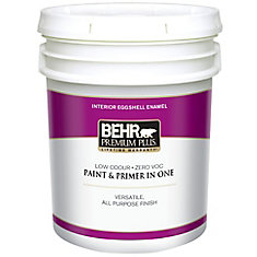 BEHR PREMIUM PLUS   Interior Eggshell Enamel Paint - Ultra Pure White, 18.9 L