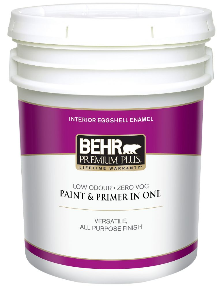 BEHR PREMIUM PLUSMD  Peinture intérieure émail coquille d'oeuf - Blanc Ultra Pur, 18,9 L