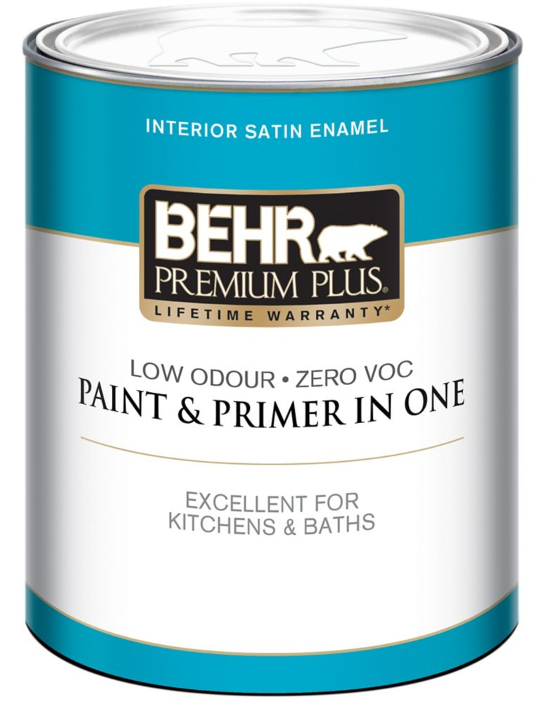 BEHR PREMIUM PLUS<sup>®</sup> Interior Satin Enamel Paint - Ultra Pure White, 946 ML