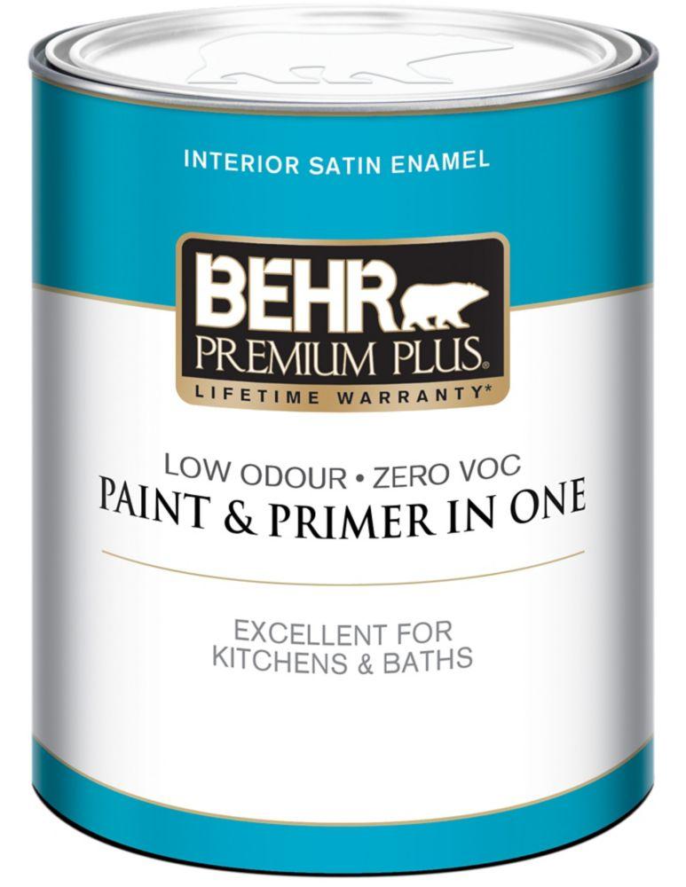 BEHR PREMIUM PLUSMD  Peinture intérieure émail satiné - Blanc Ultra Pur, 946 mL