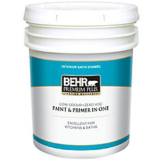 BEHR PREMIUM PLUS   Interior Satin Enamel Paint - Ultra Pure White, 18.9 L