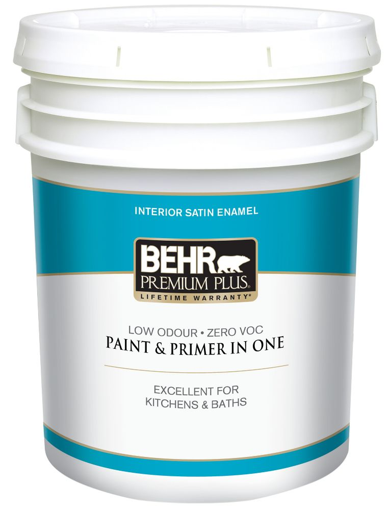 BEHR PREMIUM PLUS<sup>®</sup> Interior Satin Enamel Paint - Ultra Pure White, 18.9 L
