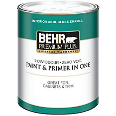 BEHR PREMIUM PLUS Interior Semi-Gloss Enamel Paint - Ultra Pure White, 946 ML