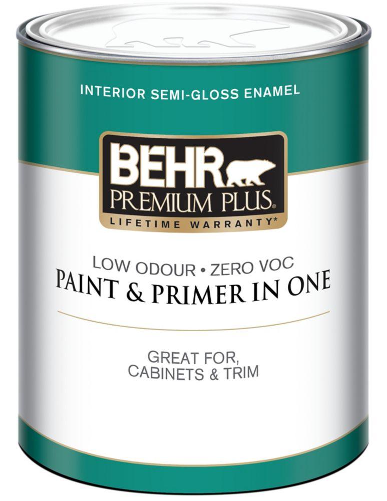 BEHR PREMIUM PLUSMD  Peinture intérieure émail semi-brillant - Blanc Ultra Pur, 946 mL