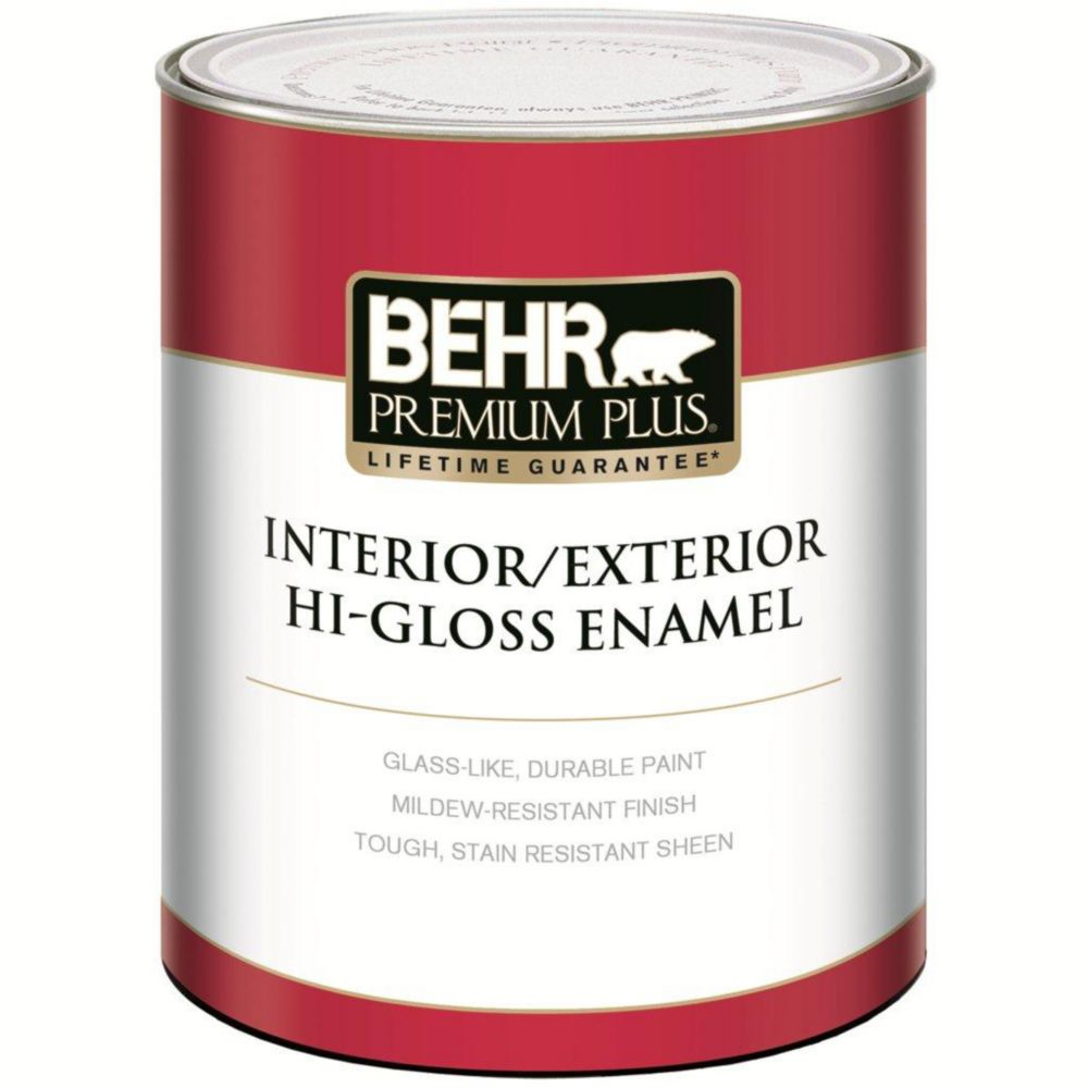PREMIUM PLUS Interior/Exterior High-Gloss Enamel Paint - Ultra Pure White, 946mL