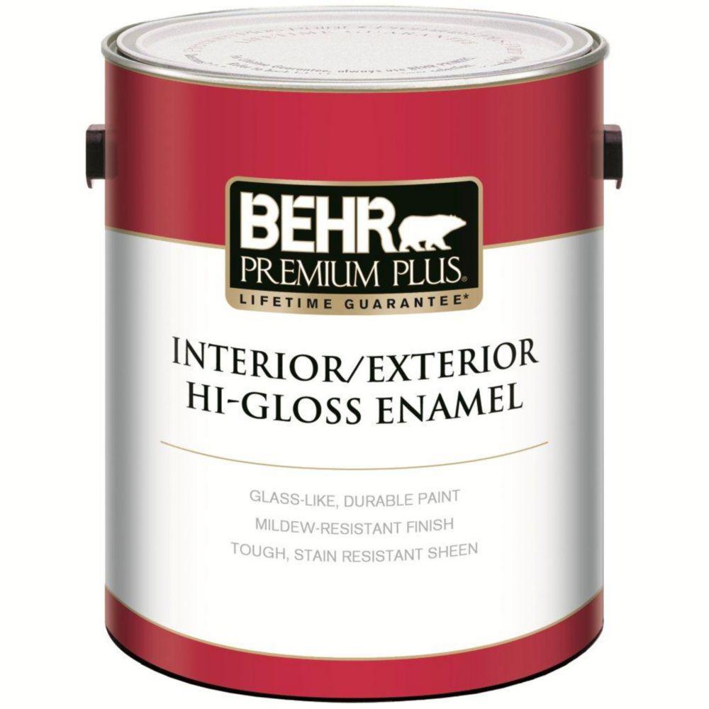 PREMIUM PLUS Peinture Intérieure/Extérieure Émail Très Brillant - Blanc Ultra Pur, 3,79L
