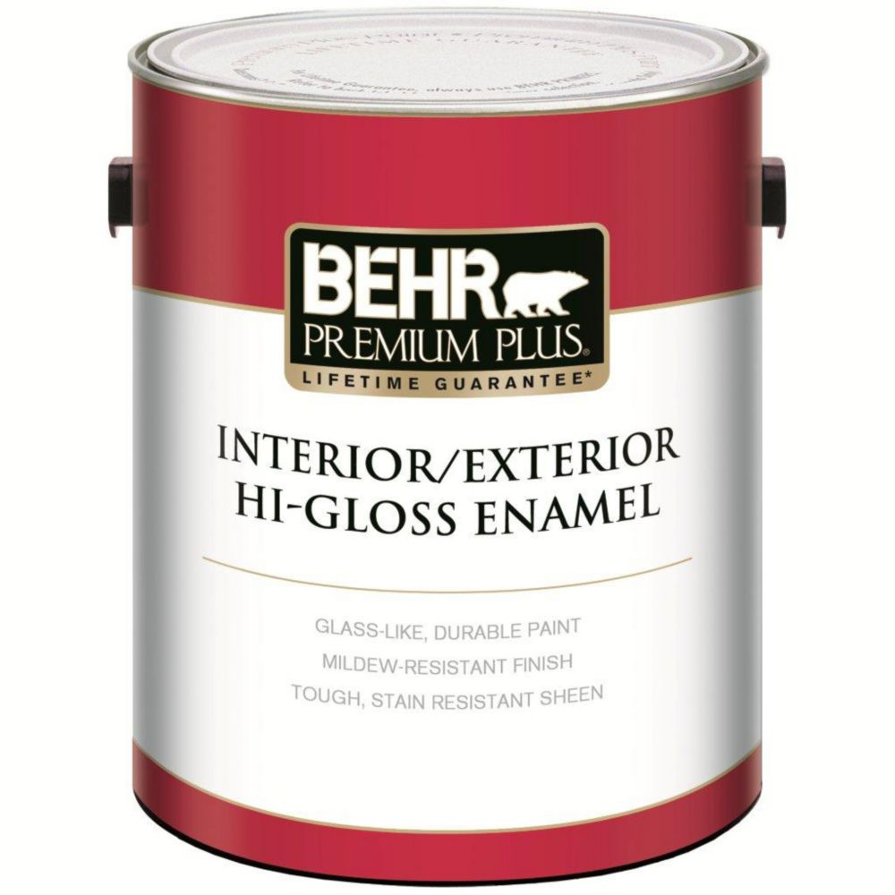 plus behr premium plus interior exterior hi gloss enamel paint ultra. Black Bedroom Furniture Sets. Home Design Ideas