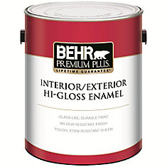 BEHR PREMIUM PLUS Interior/Exterior Hi-Gloss Enamel Paint - Ultra Pure White, Deep Base, 3.43 L