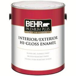 Behr Premium Plus Interior/Exterior Hi-Gloss Enamel Paint - Ultra Pure White, Deep Base, 3.43 L