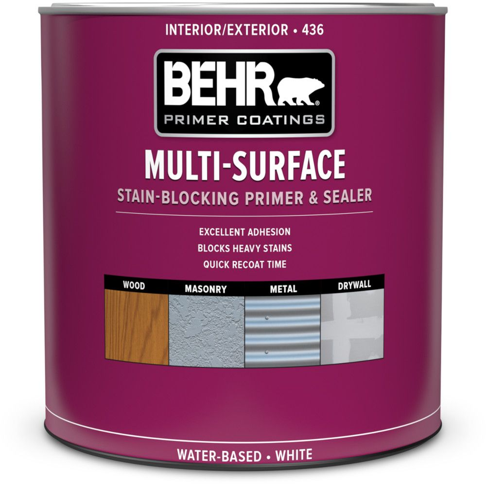 Behr premium plus premium plus exterior water based primer sealer 931 ml the home depot canada for Can you paint latex over oil based paint exterior