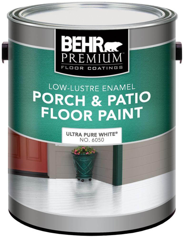 Behr BEHR PREMIUM Low-Lustre Enamel Porch & Patio Floor Paint, Ultra Pure White, 3.79 L