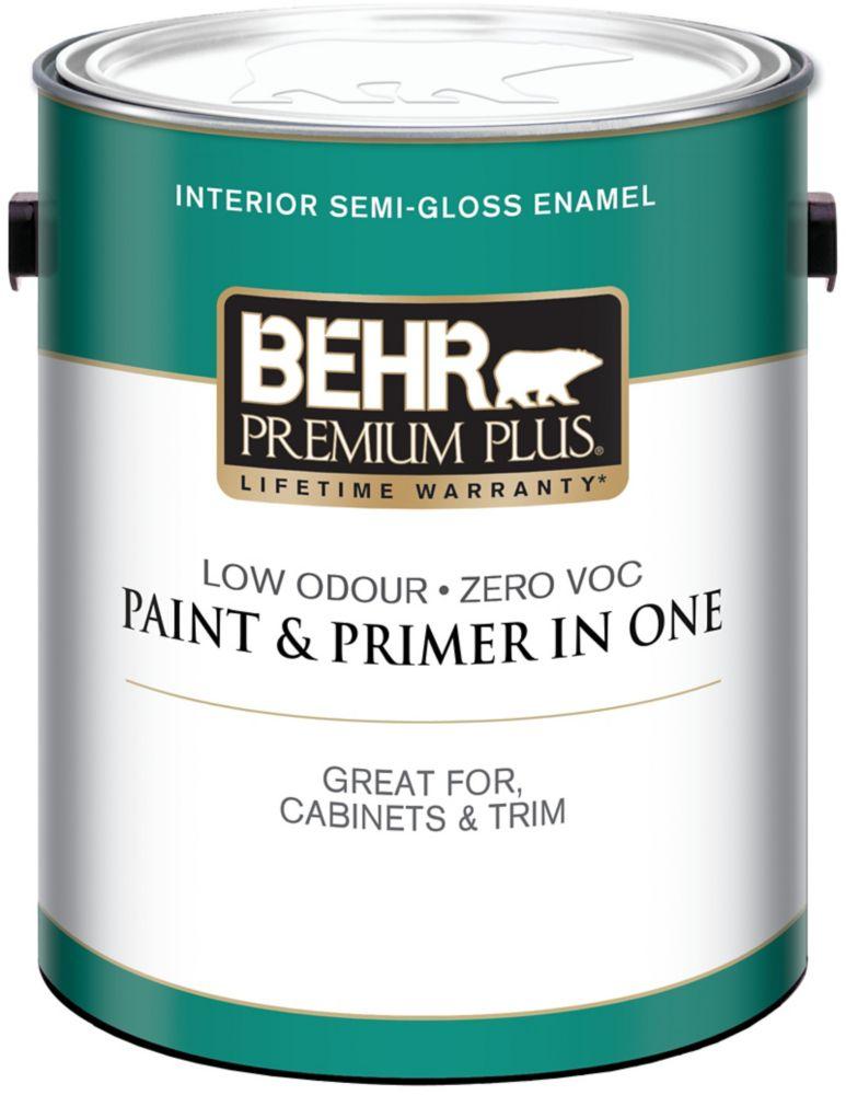 BEHR PREMIUM PLUS<sup>®</sup> Interior Semi-Gloss Enamel Paint - Ultra Pure White, 3.79 L
