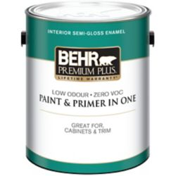 Behr Premium Plus Interior Semi-Gloss Enamel Paint - Ultra Pure White, 3.79 L