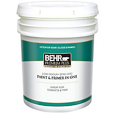 BEHR PREMIUM PLUS Interior Semi-Gloss Enamel Paint - Ultra Pure White, 18.9 L
